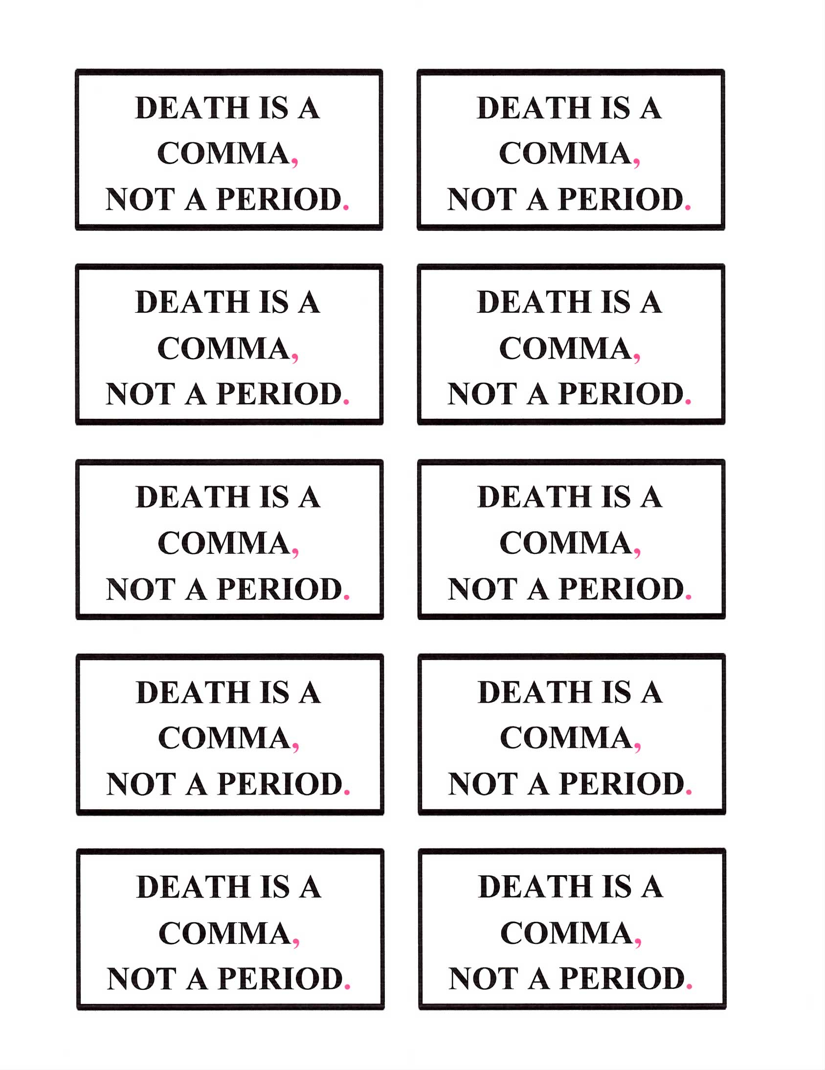 Death is a Comma