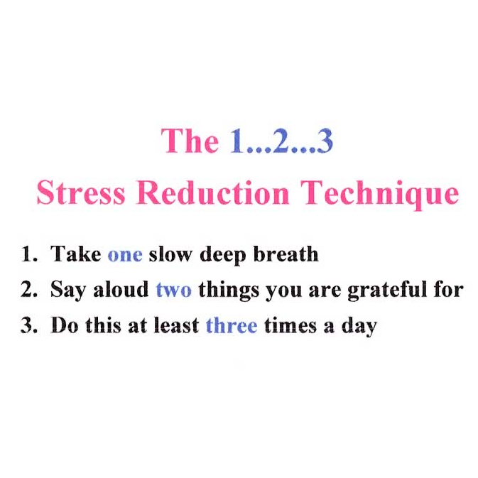 The 1 2 3 Stress Reduction Technique