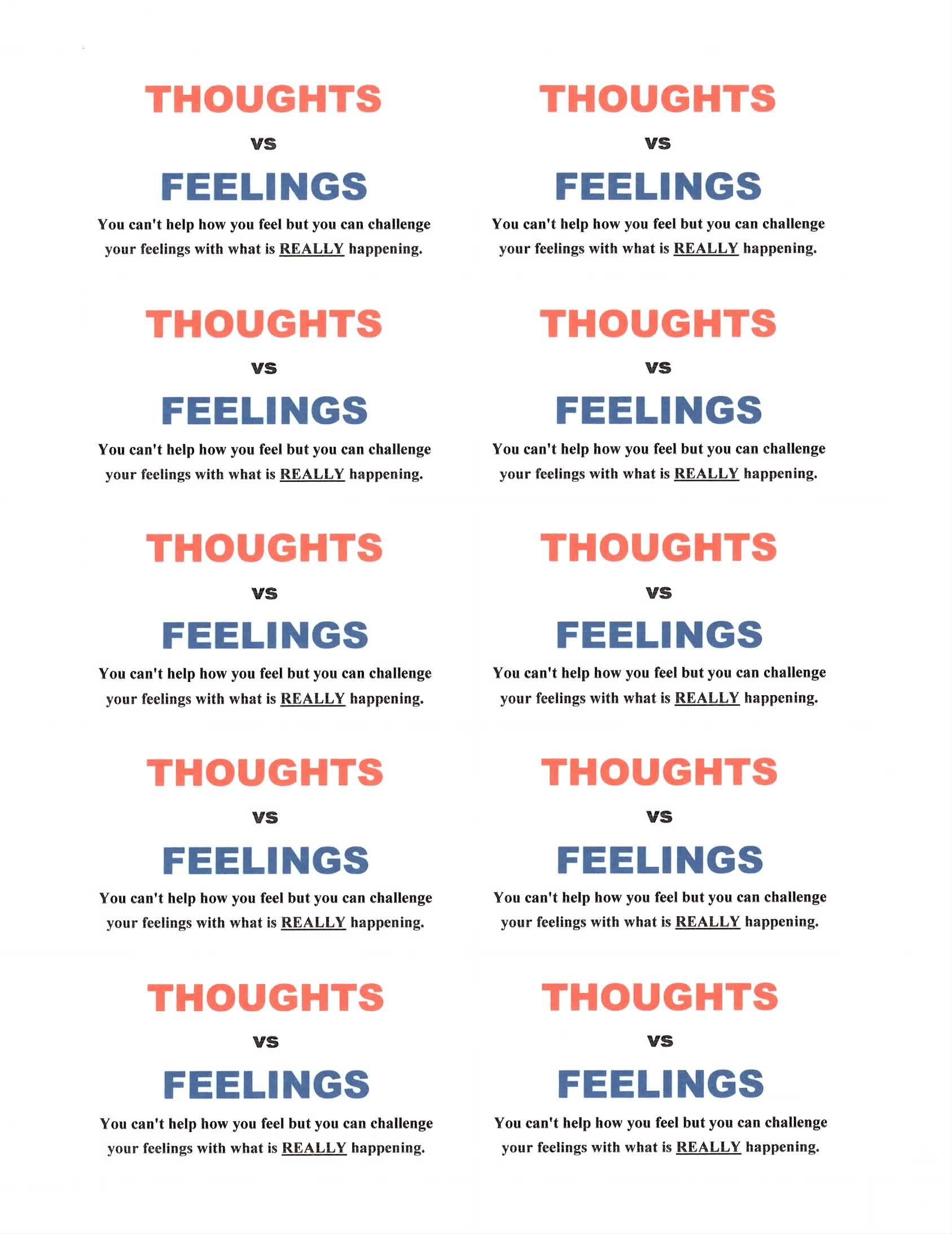 Thought vs. Feelings